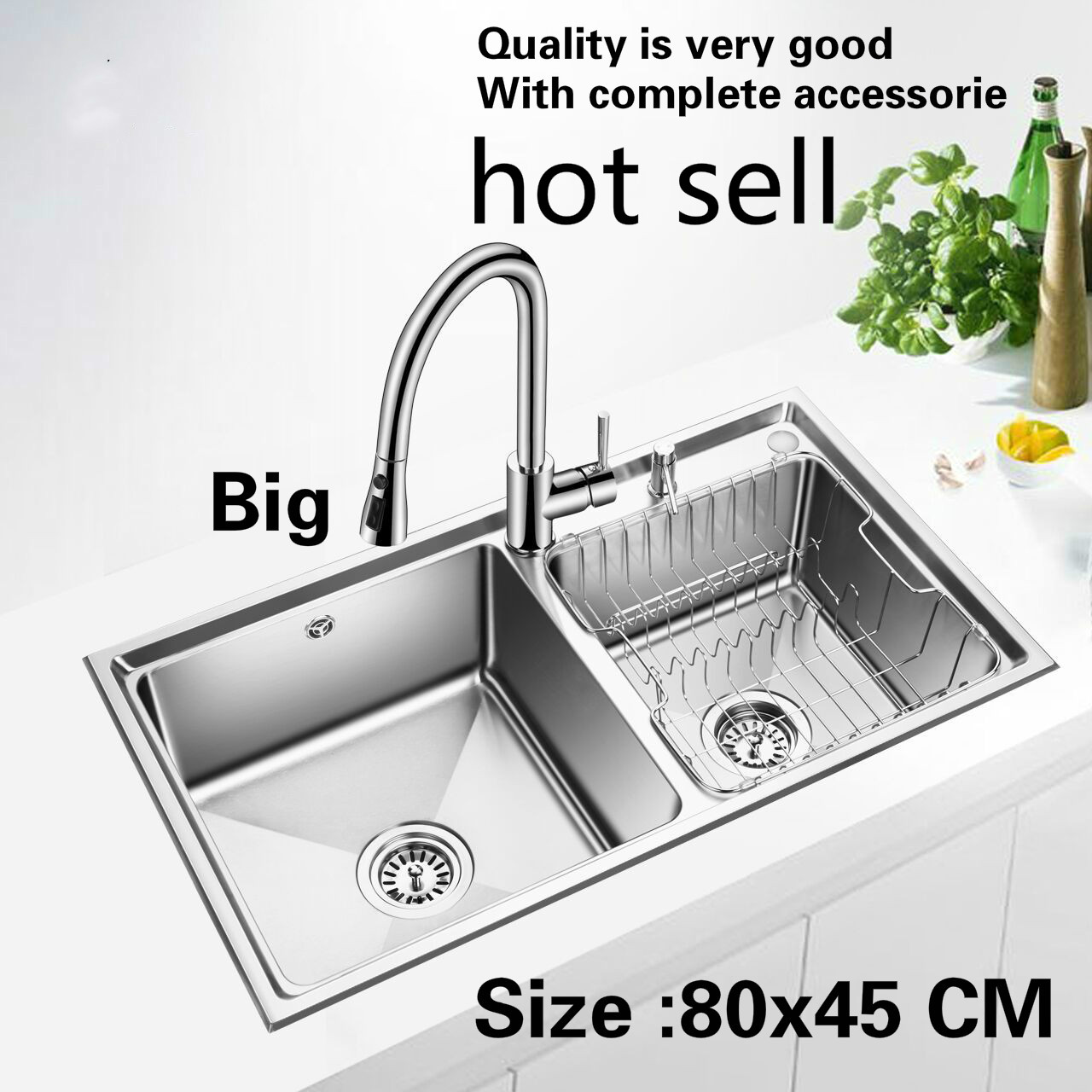 Free shipping Household big kitchen double groove sink durable 304 stainless steel hot sell 800x450 MMFree shipping Household big kitchen double groove sink durable 304 stainless steel hot sell 800x450 MM