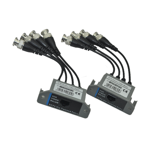 2 x Pair CCTV 4CH Passive UTP CAT5E BNC Video Balun Transceiver