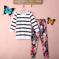 Super cute striped long sleeves pants kids clothing girls clothes suit 2016 2pcs Spring Girl Clothing Set