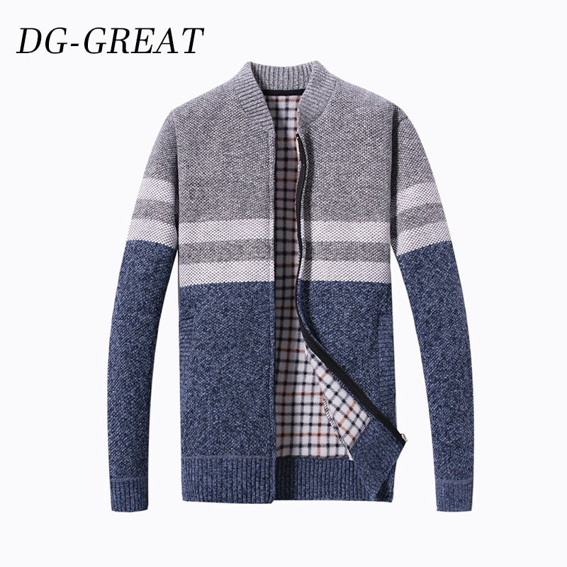New Autumn Winter 2019 Men's Cardigan With Fleece Thick Vertical O-Collar Warm Long Sleeve Knitted Sweater Coat