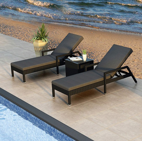 Factory Direct Sale Wicker Pool Furniture Garden Loungers Reclining Lounge  Chair Set(China (Mainland