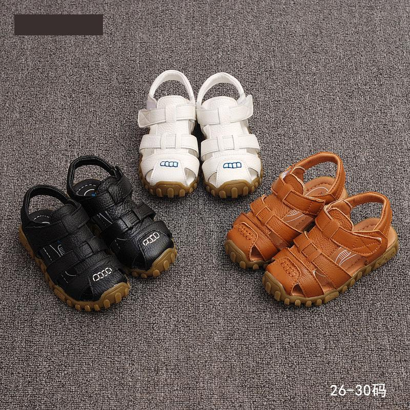 leather sandals boys 2018 100% soft leather in summer the new boys and girls children beach shoes kids sport sandals princess