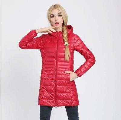 Зимняя женская куртка, новинка, тонкий пуховик с капюшоном, женский теплый пуховик, ультра легкие куртки, портативная парка на утином пуху, 6XL - Цвет: Red