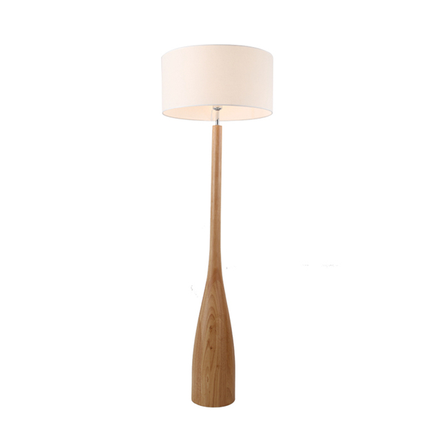 Nordic Floor Lamp Slim Design Oak Wood Fabric Shade Simple Anese Sofa Side Bedside Table Light