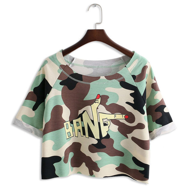 Women Crop Top Camouflage custom tshirt tunic Gesture Short cropped Paragraph Magliette Donna Tees Cotton Loose Instagram  A909