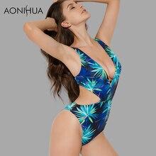 AONIHUA Sexy High cut  Swimsuit Women 2018 Print Sleeveless Monokini 1 One Piece Swimwear female Spa Beach Swimming Suit 2048