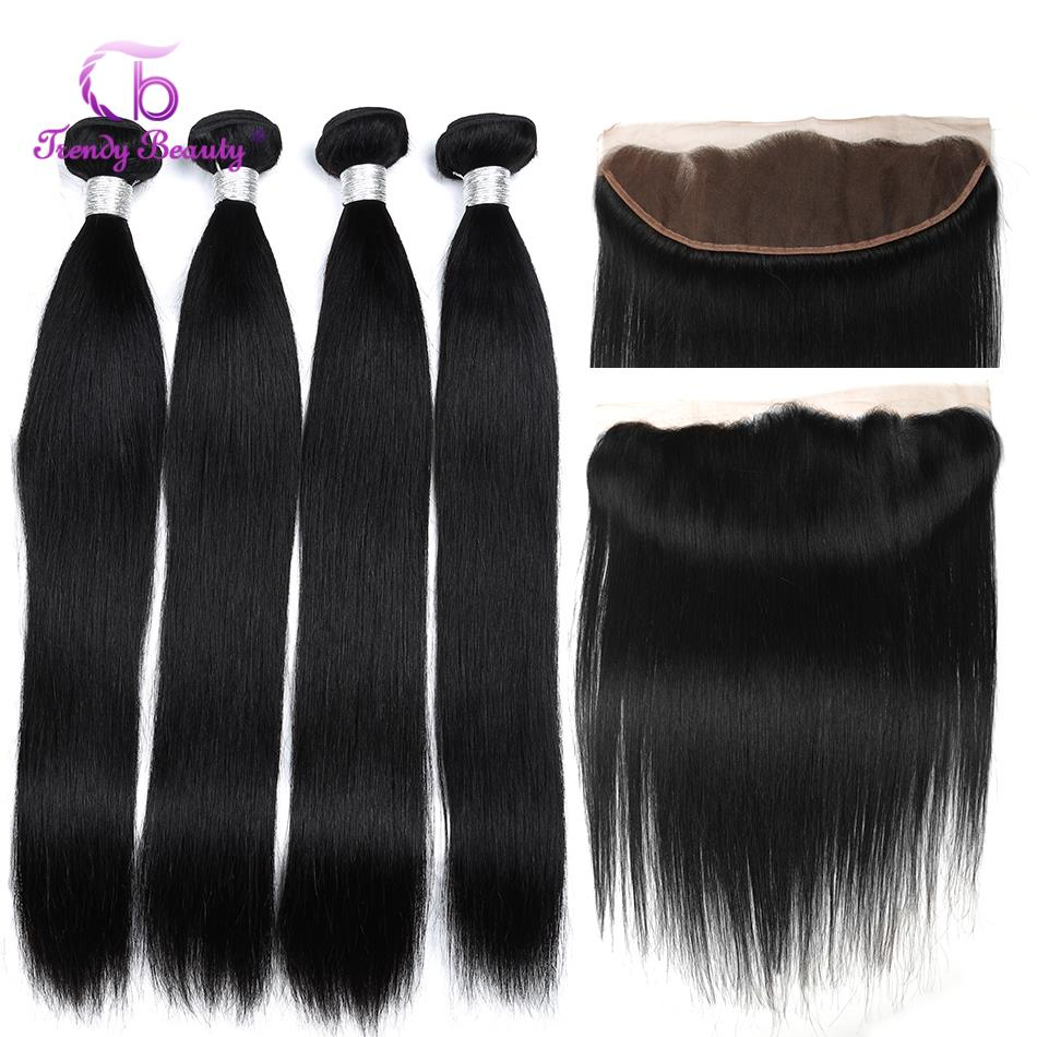 Cheveux de beauté à la mode 13x4 fermeture frontale en dentelle avec paquets paquets de cheveux humains brésiliens droits avec fermeture en dentelle non-remy 5 pièces