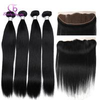 Trendy Beauty Hair 13x4 Lace Frontal Closure With Bundles Brazilian Straight Human Hair Bundles With Lace Closure Non Remy 5pcs