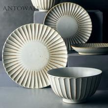 ANTOWALL, набор керамической посуды в японском стиле, домашняя Ретро керамическая миска, тарелка для рыбы, тарелка для супа, лапши, Салатница, миска для риса