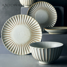 ANTOWALL Japanese style stoneware tableware set home retro ceramic bowl fish plate dinner plate soup noodle salad bowl rice bowl round white black ceramic salad bowl gold japanese style noodle container for soup rice bowl ceramica set kitchen tool tableware