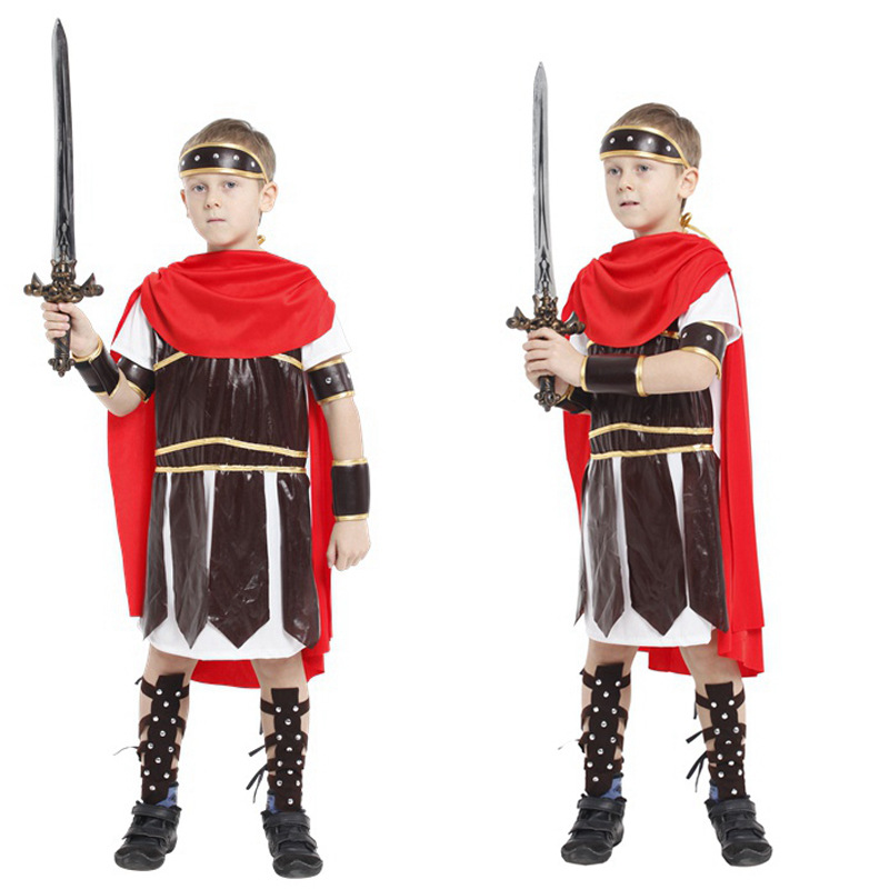 Halloween Cosplay Costume Stage Performance Party Festival Supplies Rome Warrior Clothes For Kids Boys аксессуары для косплея neko cosplay
