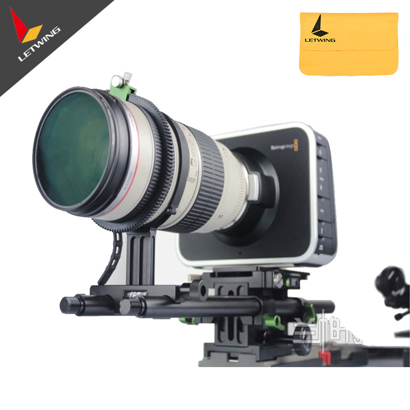 Lanparte DSLR Prime Long Teale Lens Support Bracket with Flexible Rubber Ring Belt Height Adjustable Function