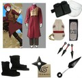 Cosplay Costume Naruto Shippuden Gaara Red Complete Set With Bag Halloween Christmas Party Uniform Dress Men's Cosplay Dress