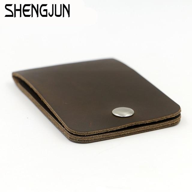 Men Handmade Cow Leather Card Wallets Women  Credit Card Holder Purse Unisex Bus Card Cowhide Mini Pocket WQB-216