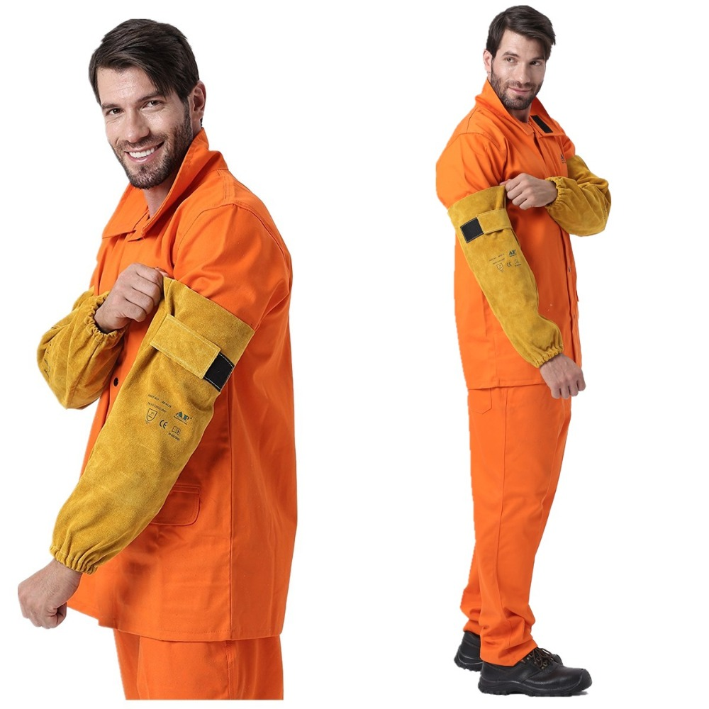 Professional Welder Arm Sleeve 48cm 19inch Split Cowhide Leather CE EN11611 Welding Protection Sleeves