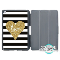 Golden Glitter Heart With Stripes Stand Folio Cover Case For Apple iPad Mini 1 2 3 4 Air Pro 9.7 10.5 2016 2017 a1822 New