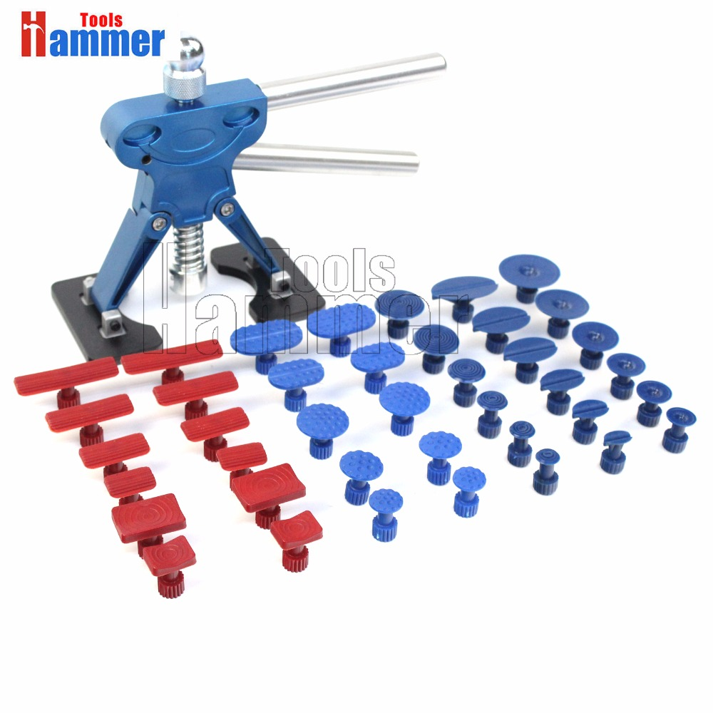 Hammer Tools 41pcs Automotive Paintless Dent Repair Removal Hail PDR Tools Dent Lifter Puller Tabs Kits