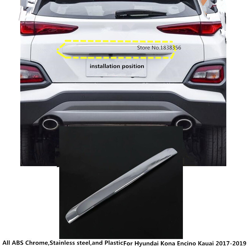 Car Styling Fit For Hyundai Kona Kauai 2018 2019 Rear: Car Styling Stainless Steel Rear Door Tailgate Frame Plate