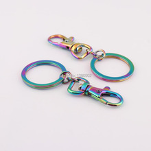 2pcs/lot top quality  beautiful shiny colorful rainbow color vacuum plating snap hook key ring buckle DIY hardware accessories
