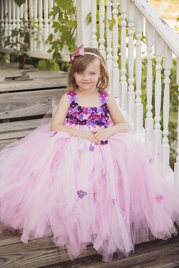 2016Pink Little   Girls   Ball Gown   Flower     Girl     Dresses   Sleeveless Square Collar Neck Elegant   Dresses   For   Girls   Vestidos de comunion