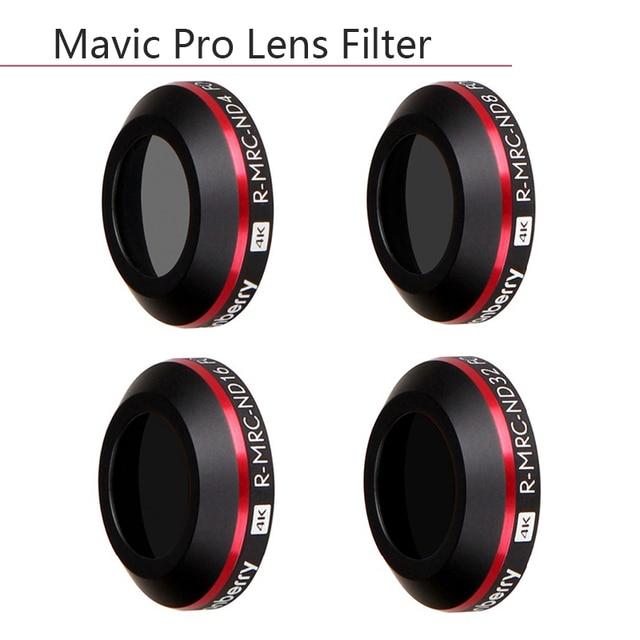 4 في 1 ضوء جدا ND4 ND8 ND16 ND32 عدسة مرشح لل DJI Mavic برو البلاتين كاميرا طائرة دون طيار مرشحات الكثافة محايدة حالة وقائية