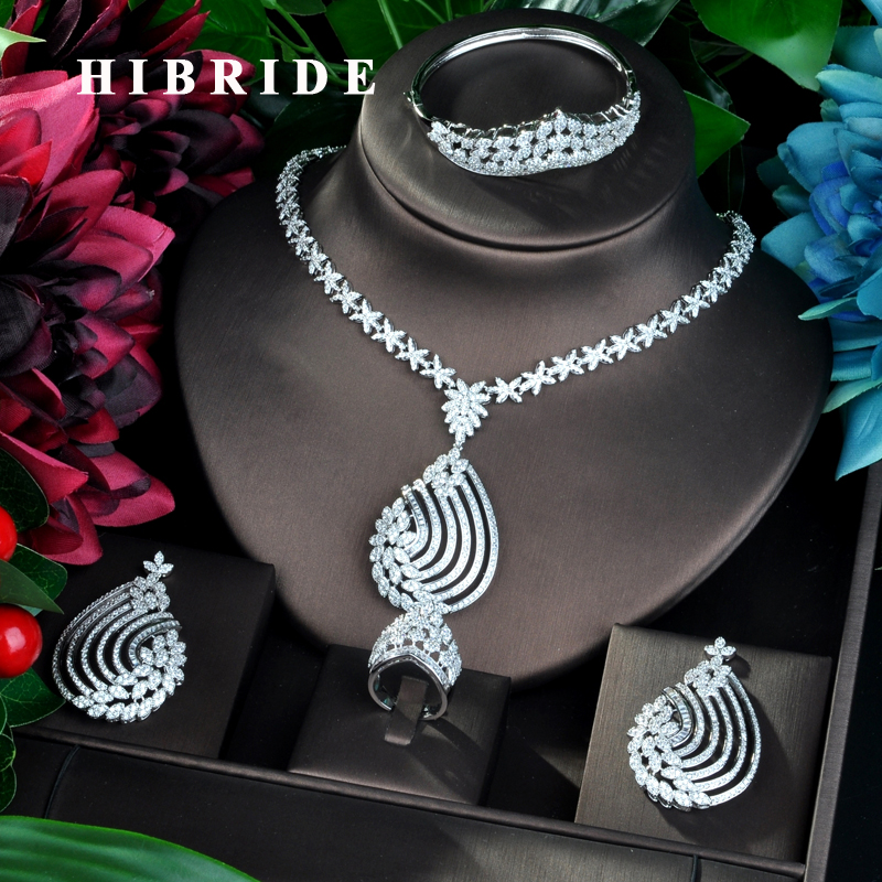 HIBRIDE 4pcs Bridal Zirconia Necklace Earrings Rings For Women Party Luxury Dubai Nigeria CZ Crystal Wedding