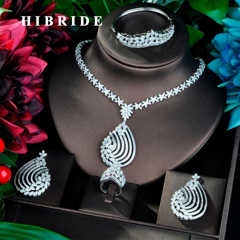 HIBRIDE 4pcs Zirconia สร้อยคอต่างหูแหวนสำหรับสตรีหรูหราดูไบไนจีเรีย CZ เครื่องประดับคริสตัลชุด N 806-ใน ชุดอัญมณี จาก อัญมณีและเครื่องประดับ บน   1