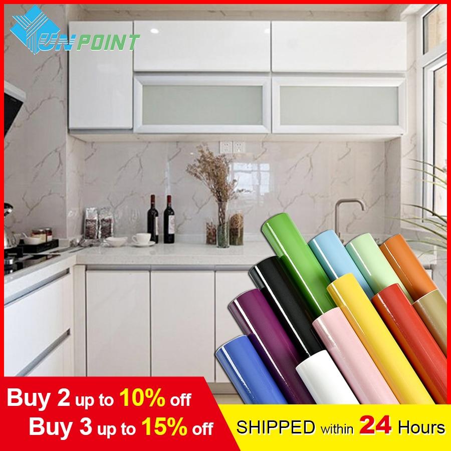 Pearl White DIY Decorative Film PVC Self adhesive Wall paper Furniture Renovation Stickers Kitchen Cabinet Waterproof Wallpaper
