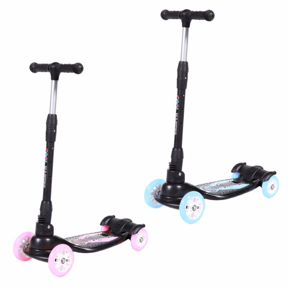 Four Wheels Flashing Light Skateboard Children Scooter Adjustable Hand Bar 4 Tire Foldable Free-of-installation For Kids Walker