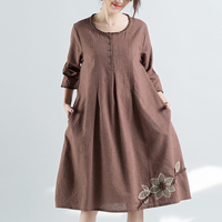 F JE 2018 Summer Arts Style Women Clothing Loose Casual Cotton Linen Embroidery Vintage Dress Ladies