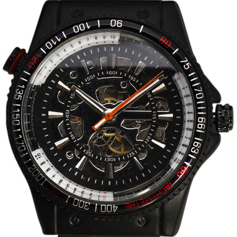 WINNER Men Watches 2016 Tachymeter Case Multilayer Skeleton Dial Automatic Mechanical Sport Black Steel Band Military