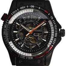 GANADOR Relojes de Los Hombres 2016 Caso Taquímetro Multicapa Skeleton Dial Mecánico Automático Sport Reloj Militar Banda de Acero Negro