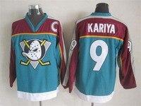 Mighty Ducks Jersey 9 Kariya Stitched Movie Throwback Hockey Jerseys White Red Black S 3XL Free