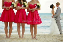 Short Mini Above Knee A Line Sweetheart Taffeta Tulle Beach Hot Pink Bridesmaid Dresses