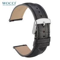 WOCCI Genuine Leather Watch Strap 18mm 20mm 22mm Alligator Embossed Leather Watchband Quick Release bars Black Band Strap Belt