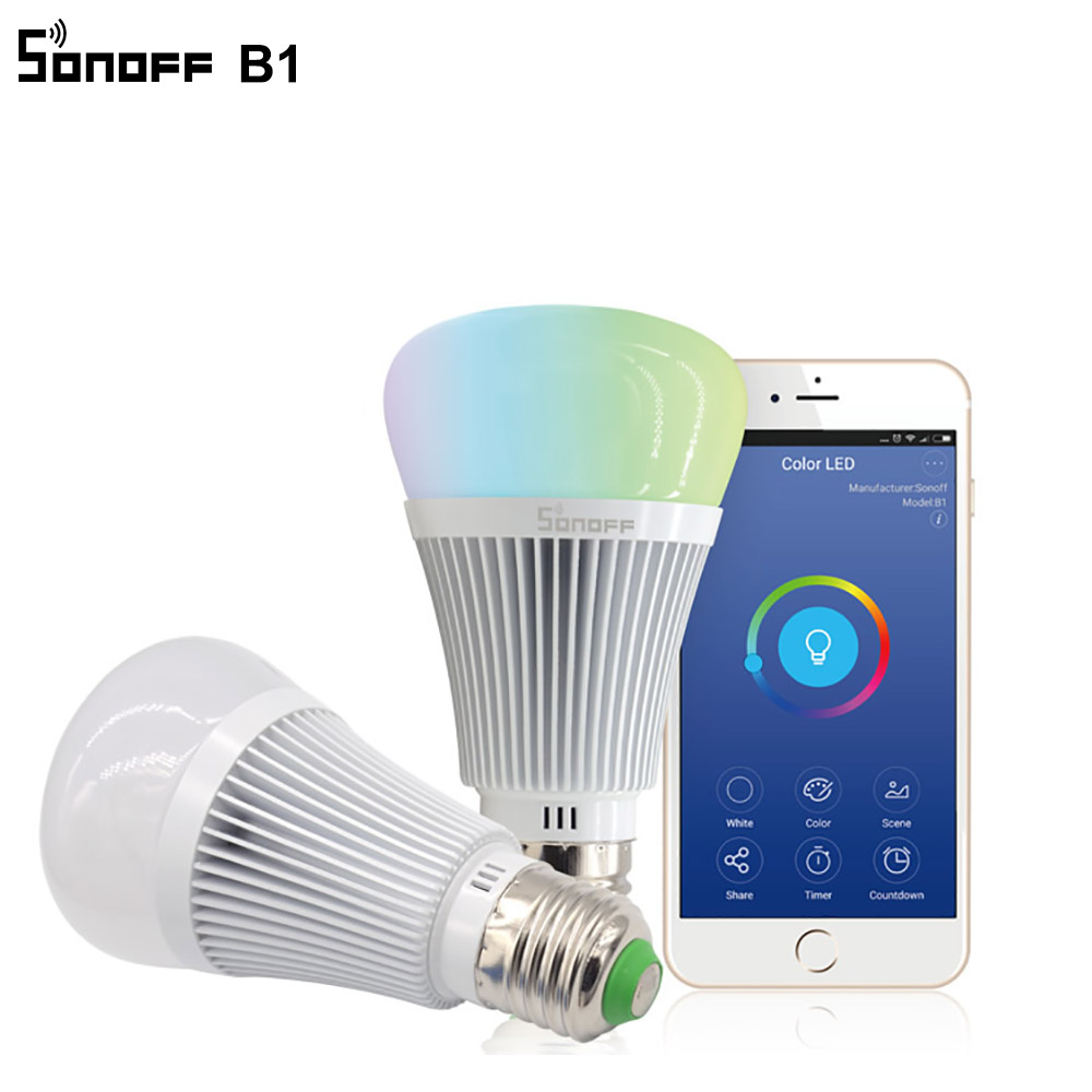 bilder für Sonoff B1 Smart Wifi Lampe E27 Dimmbare Bunte Led-lampe RGB farbe Licht APP WIFI Fernbedienung Über IOS Android für Smart häuser
