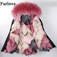 Winter Coat Women Womens Jackets Natural Raccoon Fur Collar Hooded Jacket Real Fox fur Parka Thick Coats Casual Long Warm Parkas