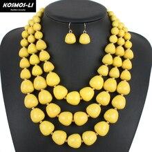 De múltiples capas collar de nueva moda clásico granos de acrílico gargantillas collares declaración joyería de las mujeres collar de la boda 14203