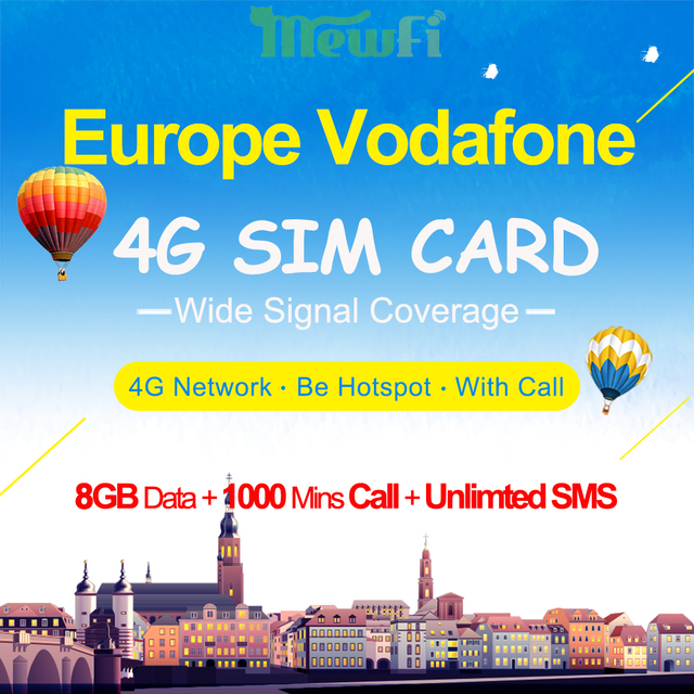 US $41 99  Mewfi Vodafone Sim Card High Speed 4G Data Native Card 8GB  Bundle+1000 Mins Call+Unlimited SMS Europe Travel Sim Card 3in1 Card-in  Mobile