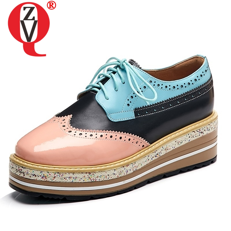 ZVQ shoes woman spring new mixed colors fashion sexy patent leather cross-tied woman pumps sqare toe high wedges platform shoesZVQ shoes woman spring new mixed colors fashion sexy patent leather cross-tied woman pumps sqare toe high wedges platform shoes