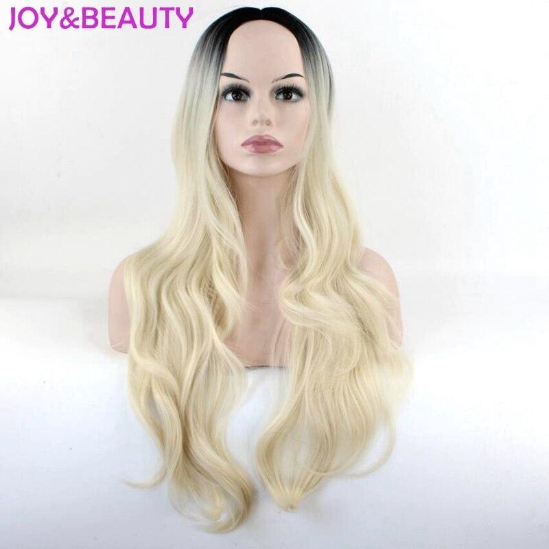 YՈԻ ԵՎ ԳԵՂԵԿՈՒԹՅՈՒՆ Ombre Black Golden Long Wavy Wig - Սինթետիկ մազերը