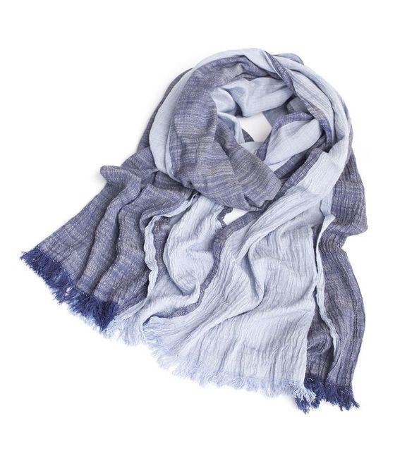 Marca moda de otoño invierno de algodón largo de mezclilla azul caliente de la cachemira bufandas Bufanda Escocesa a cuadros tejido arrugado algodón Bufanda hombres