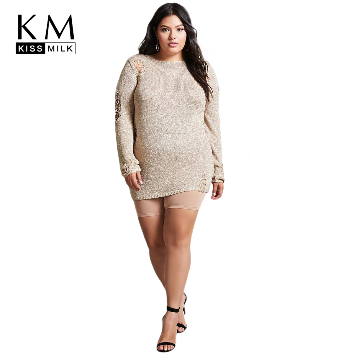 US $23.55 30% OFF|Kissmilk 2018 Plus Size Hollow Out Women Sweater Dress  Large Size Long Sleeve Sqeuin Female Clothing Big Size Lady Pullovers-in ...