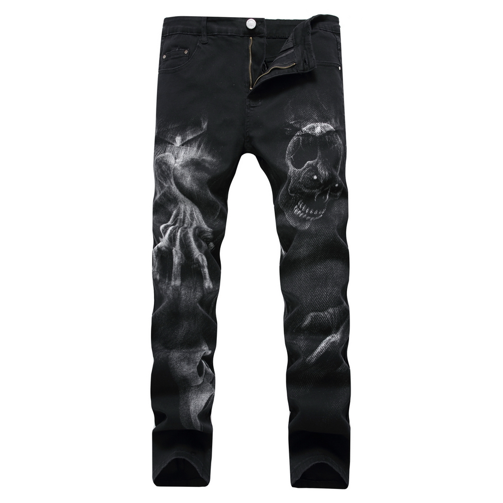 2017 New Autumn Denim Trousers Jeans Men Slim Fitness Black Clothing Pants High Quality Cotton Cozy Denim Skull Pattern Jeans roman high heeled sandals women over the knee high boots fetish lady s med stiletto boots sexy hollow gladiator shoes woman