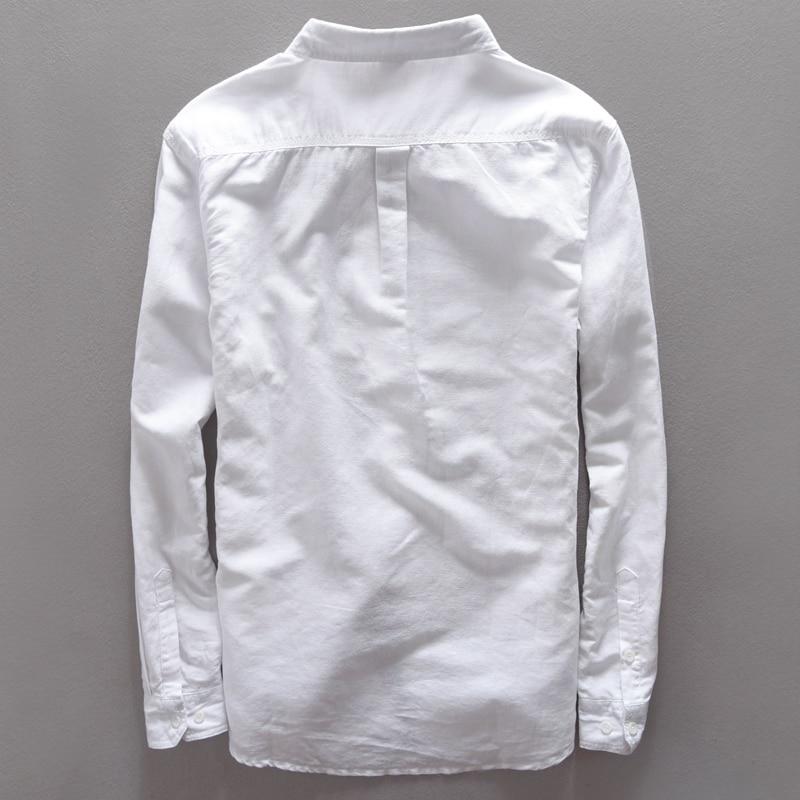 2017 uus moe vabaaja linane särk meestele valge tahke pikkade - Meeste riided - Foto 2