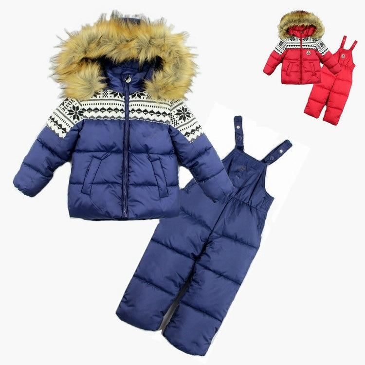 ФОТО 2016 New winter children boys clothing set baby & kids warm windproof ski garment fashion 2 pcs set fur hooded snowsuits 3-6T