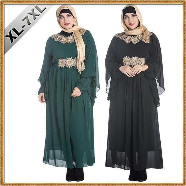 Vestuário Islâmico Para As Mulheres Abaya Real Saudita Djellaba 2016 Novo Malásia Muçulmano Applique Robe Grande Código Bat Vestido de Manga Comprida