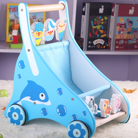 Infant Ride On Toys Puzzle Baby Toddler Children Four Wheel Hand Adjustable Wooden Car Push Walker