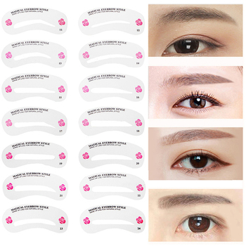 24Pcs Eyebrow Stencil Shaping Tool Set Eye Brow Models Make Up Tool Eyebrows Stencil Template DIY Drawing Guide Styling Card Kit