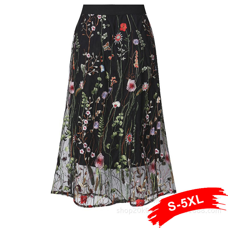 Plus Size 4Xl 5Xl Bohemian Sweet Ol Women Skirts A-Line Lace Floral Sexy Mesh Embroidery Girl School Cute Black Female Skirt